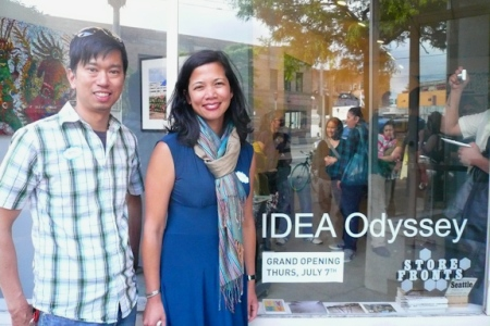 Carina A. del Rosario (right) with IDEA Odyssey gallery co-founder Minh Carrico. (The third co-founder, SuJ'n Chon, is not pictured.)